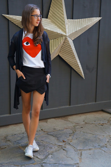 Helmut Lang cardigan, Commes des Garçons tee shirt, Zara basic skort, white chuck taylor converse