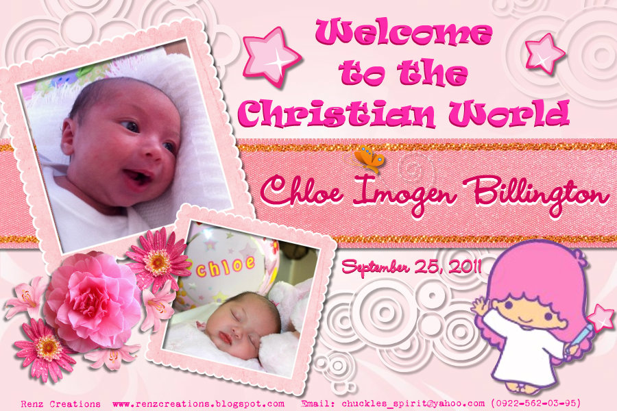 Renz Creations Invitations And Giveaways Chloe Imogen Christening Tarps