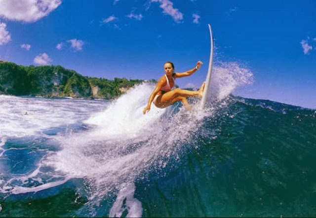 Surfing on sea at Bali, Indonesia