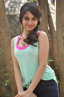 Sheena Shahabadi in lovely Black Shorts and Light Green Deep Round Neck Tank Top with Crimson Pink Inners