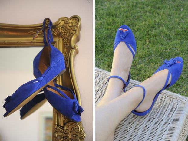 Manuscript Mini-Wedge Blue Suede Shoes