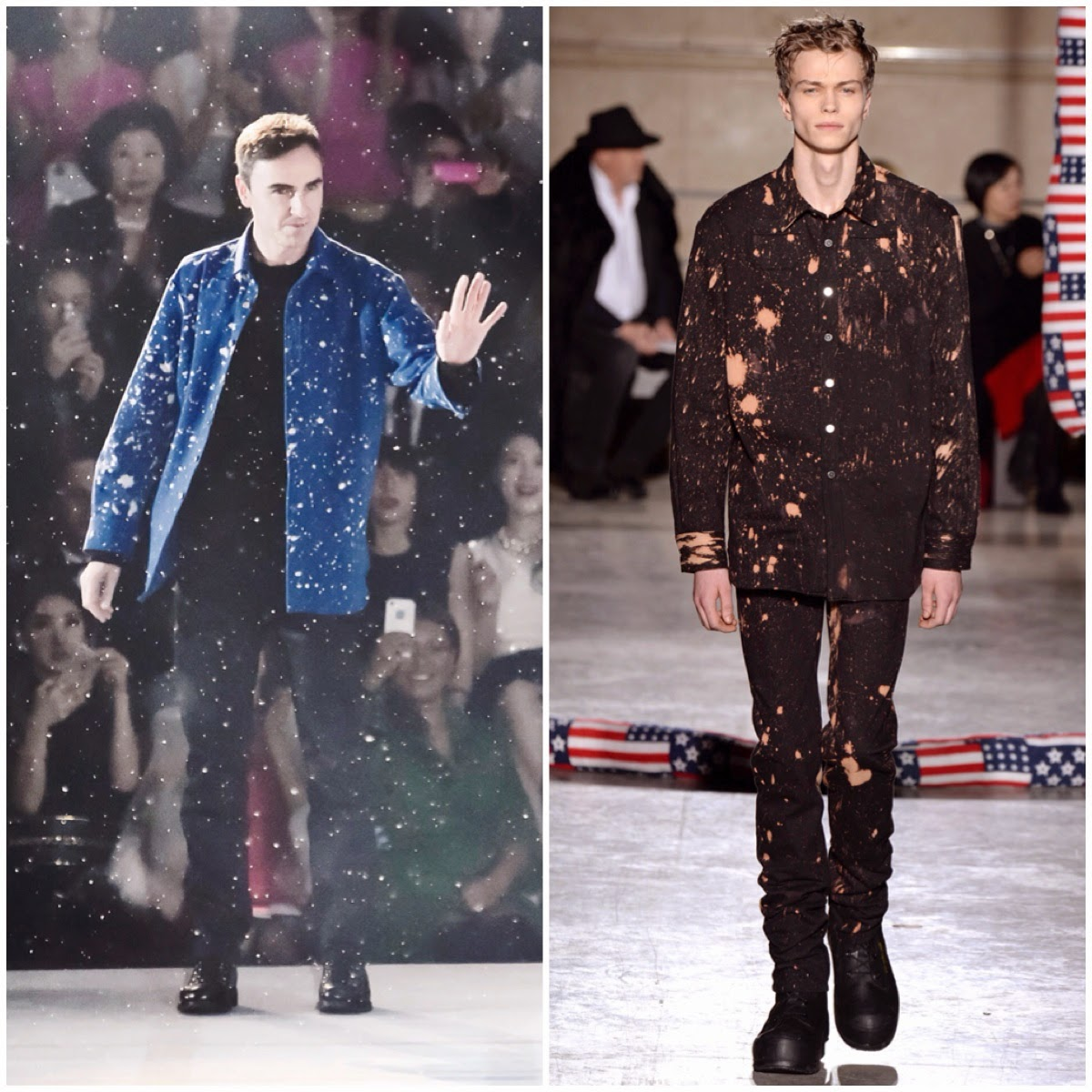 Raf Simons wears Raf Simons Sterling Ruby Fall Winter 2014 blue bleached paint splattered shirt at Christian Dior Esprit Dior Tokyo Runway Pre Fall 2015 Show 11th December 2014