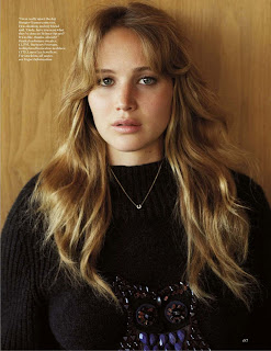 Jennifer Lawrence wearing a black sweater