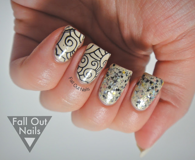 stamping striping glitter nail art 4