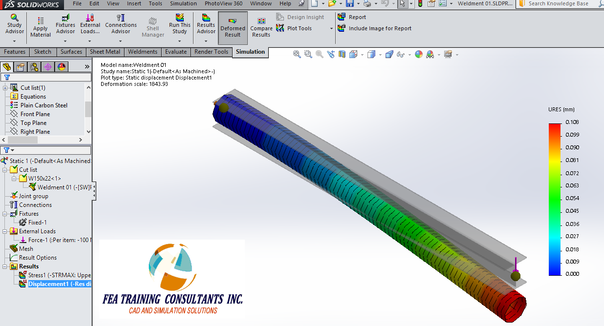 Solidworks Simulation static analysis
