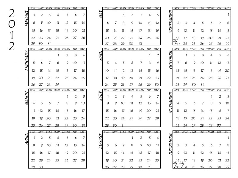 Photography Blography: 2012 Calendar Template