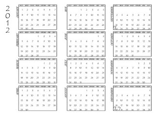 sample 2012 calendar template in png transparent format or psd layered photoshop file