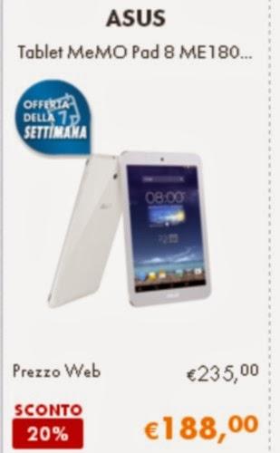 Ecco il miglior prezzo online per il tablet android da 8 pollici di diagonale Asus MemoPad 8 venduto a 188 euro
