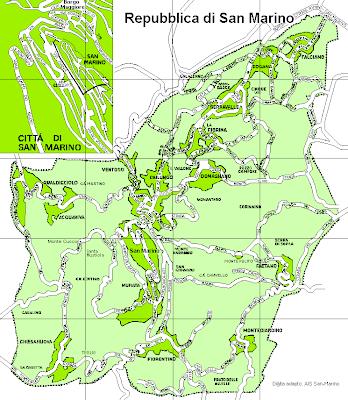 Mapa rodoviário de San Marino
