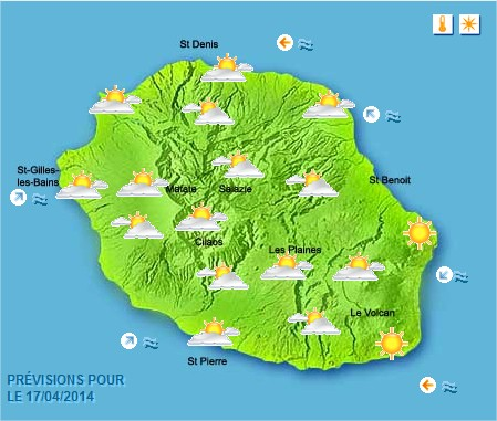 Prévisions météo Réunion pour le Jeudi 17/04/14