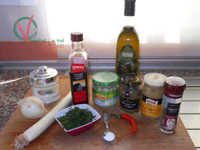 Ingredientes para las Habichuelas con mostaza.