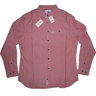 CROOKS AND CASTLES THE REGENT OXFORD CHAMBRAY IN RED NWT TRUCKFIT PINK DOLPHIN
