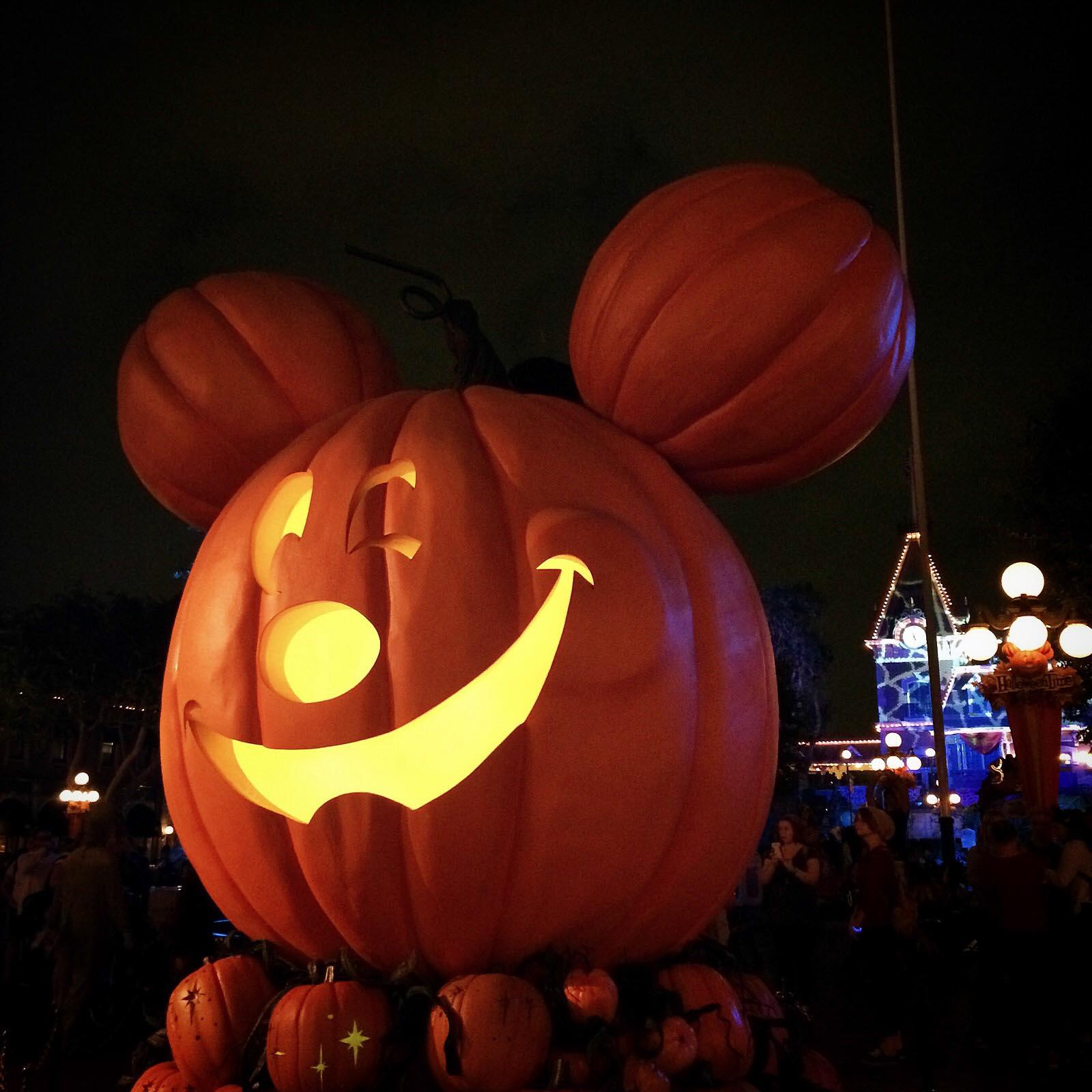 Disneyland Mickey Pumpkin at Night Time