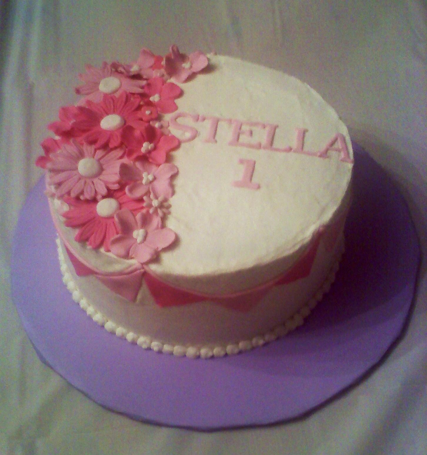 Girly Pink 1st Birthday Cake
