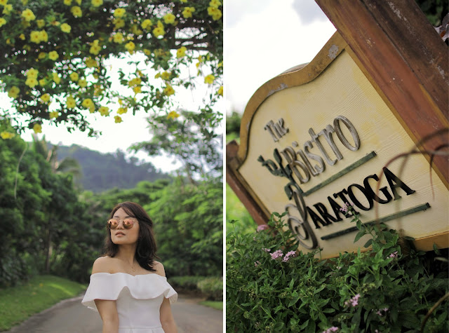S&H off shoulder white dress, tagaytay highlands, Rayban rose pink