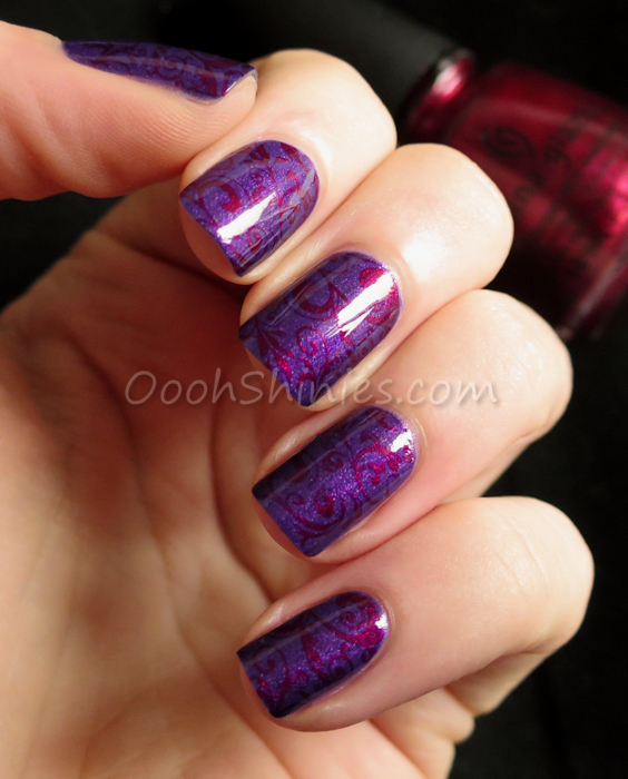 Zoya Savita with China Glaze Red-y & Willing and UberChic Beauty plate UC1-02