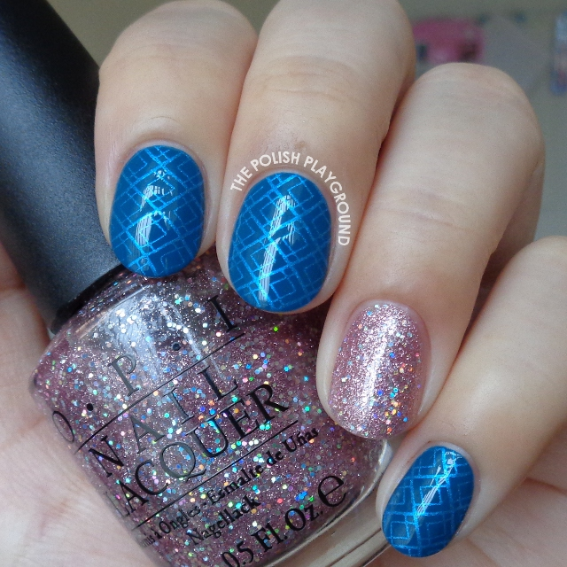 Blue Geometric Stamping with Glittery Pink Accent Nail Art