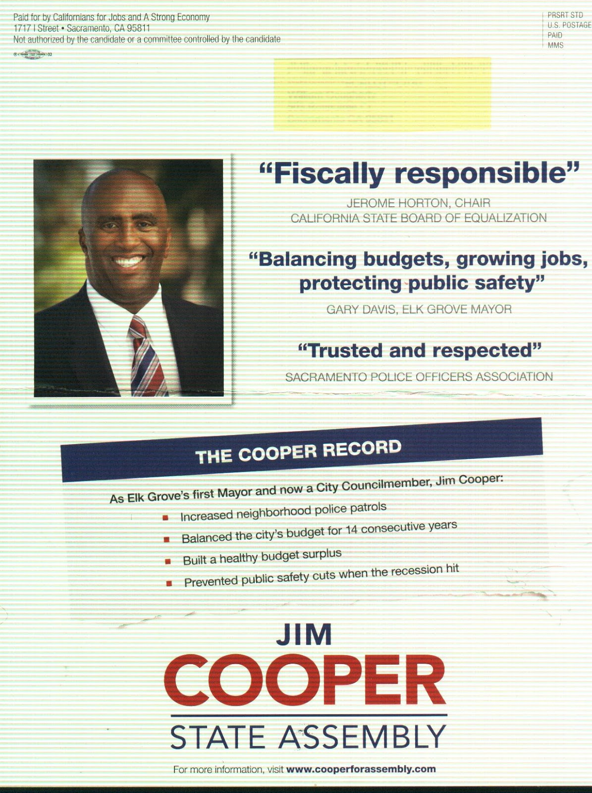Complaint Filed on Mailer Sent by Independent Committee on Cooper's Behalf