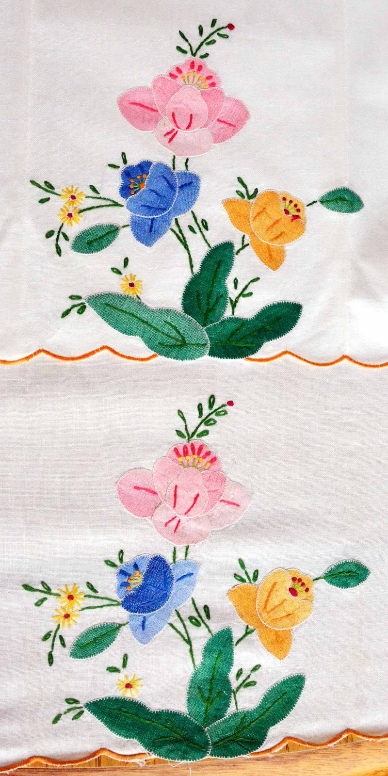 Vintage applique needlework flowers blanket stitch