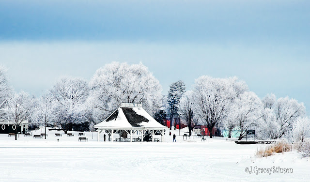 Couchiching Beach Park covered in winter snow, Orillia, Ont.