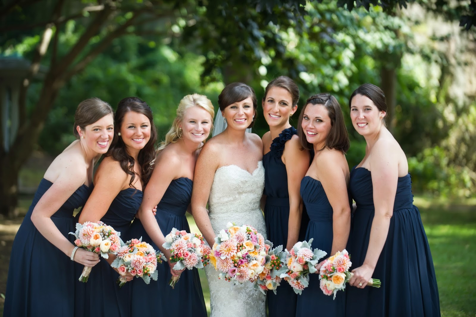 les fleurs : leah haddock photography : navy bridesmaids dresses : peach, gray, nectarine : red lion inn