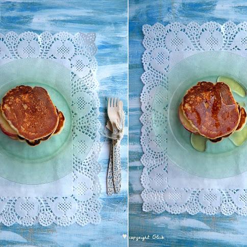 Śniadanie:Placuszki. Syrop z agawy. Nektarynki