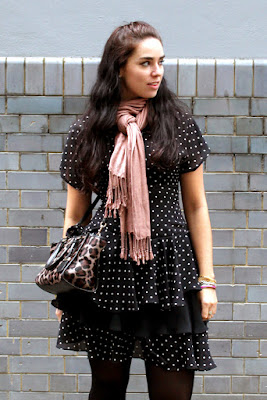 Vintage polka dot ruffle 80s dress and animal print Coach bag - London fashion blogger Emma Louise Layla