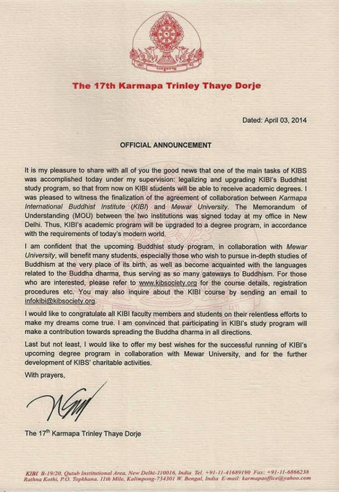 Gyalwa Karmapa's letter about the collaboratin between KIBI and Mewar University