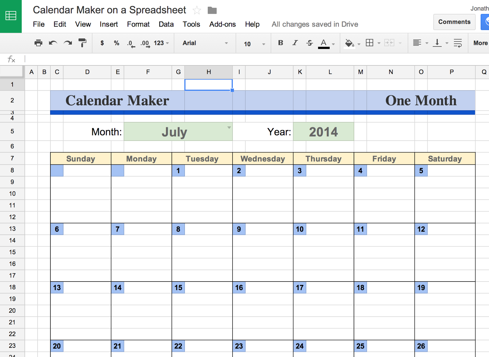 calendar spreadsheet - Template