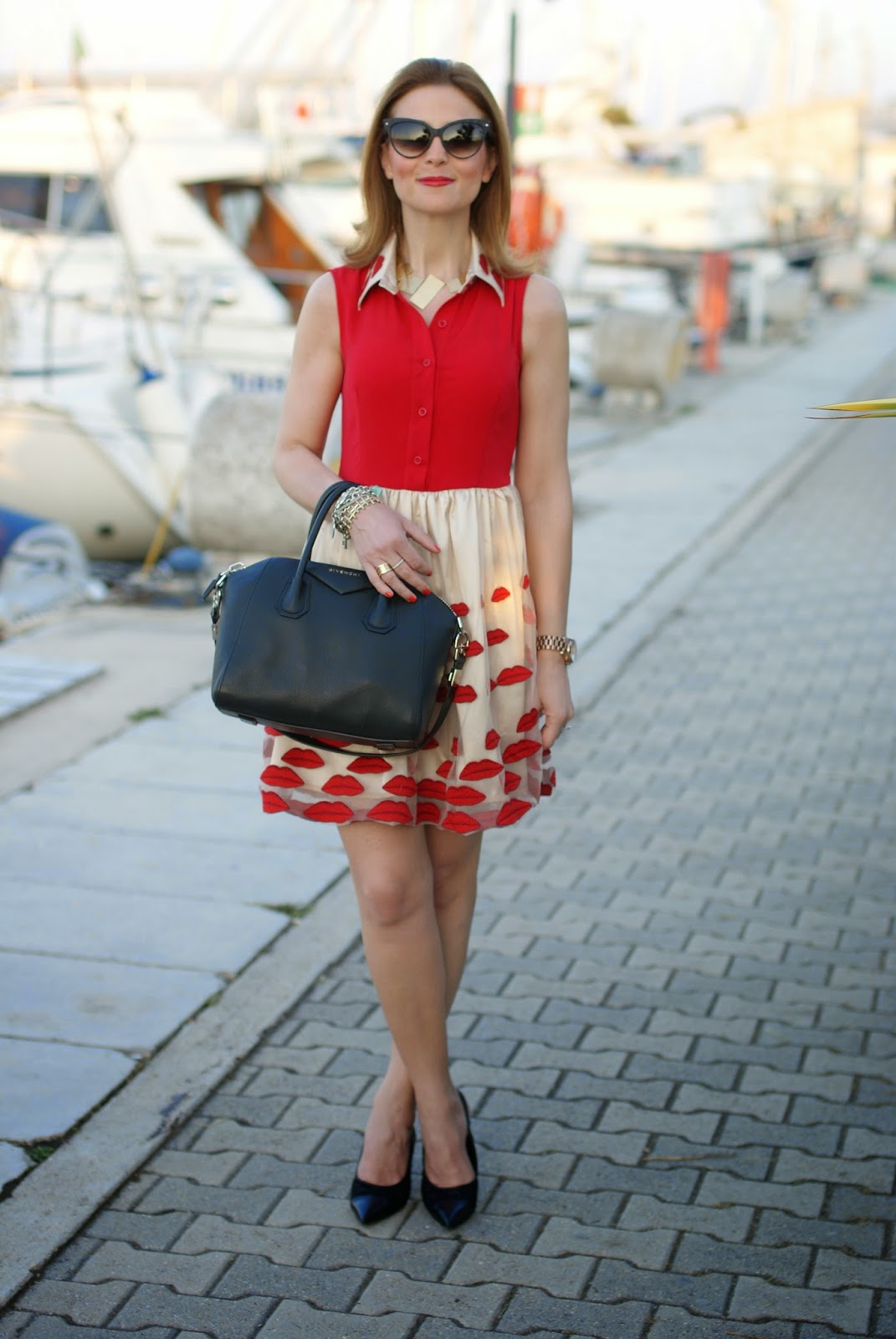 Choies red lips dress,  Nando Muzi heels, Givenchy Antigona black, Fashion and Cookies, fashion blogger
