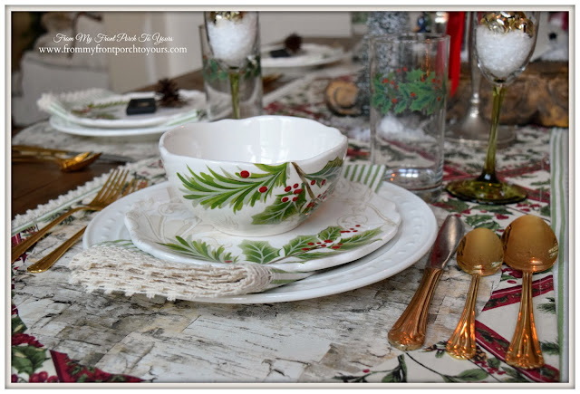 Farmhouse Christmas Dining Room-Holly Dinnerware-Christmas Dishes-Birch Placemat- From My Front Porch To Yours