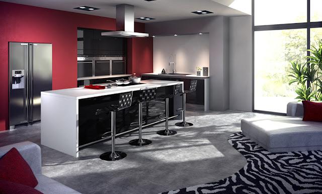 cocina-negra-con-pared-roja