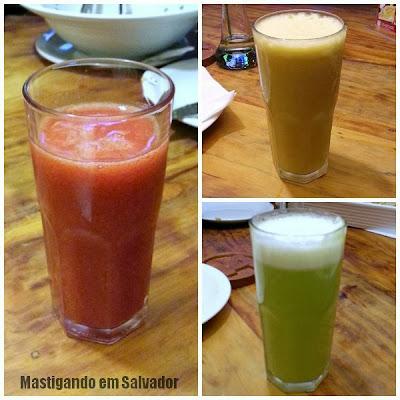 Coco Bahia Restaurante: Sucos de Morango, Cajú e Abacaxi com Hortelã