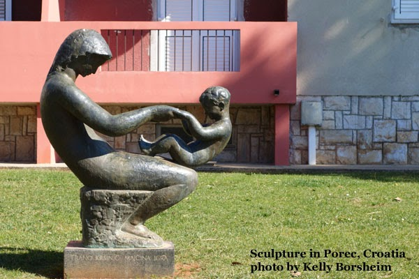 Poreč Croatia, Istria, bronze art, Bronze sculpture, mother and child