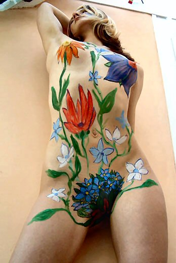 Women's body paint gallery full of paint like a flower
