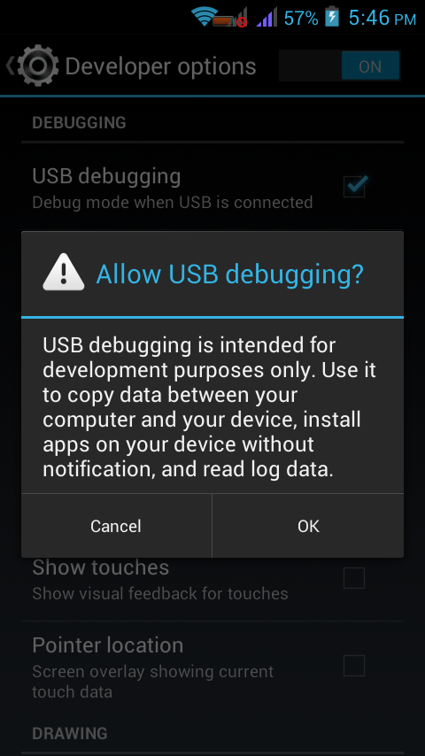enable usb debugging option in Android