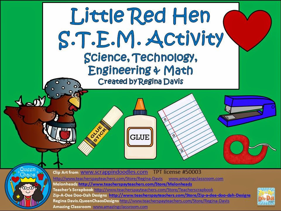 http://www.teacherspayteachers.com/Product/A-The-Little-Red-Hen-STEMScience-Technology-Engineering-Math-1478147