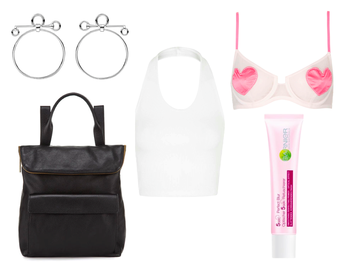 hermes earrings, whistles bag, topshop halterneck heart bra primer