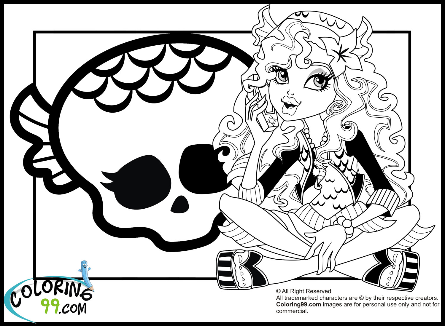 monster high lagoona blue coloring pages team colors