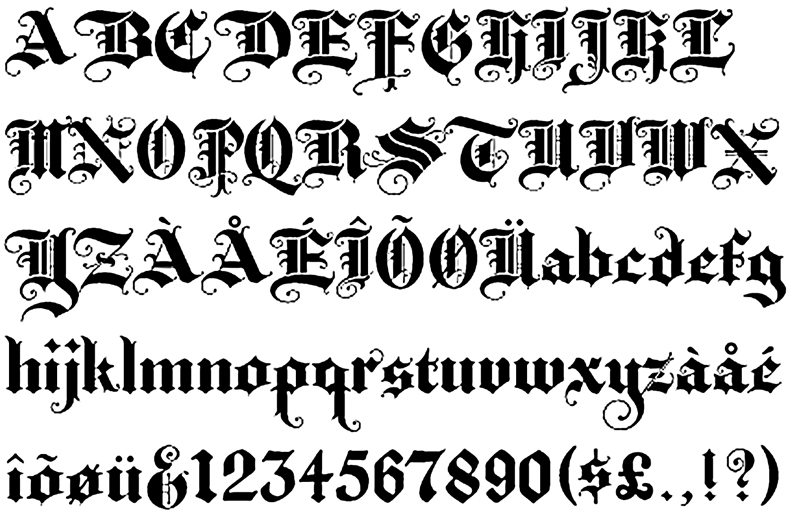 Calligraphy alphabet elizabethan contained just