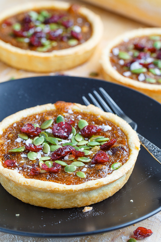 Pumpkin Butter Tarts with Pepitas and Cranberries