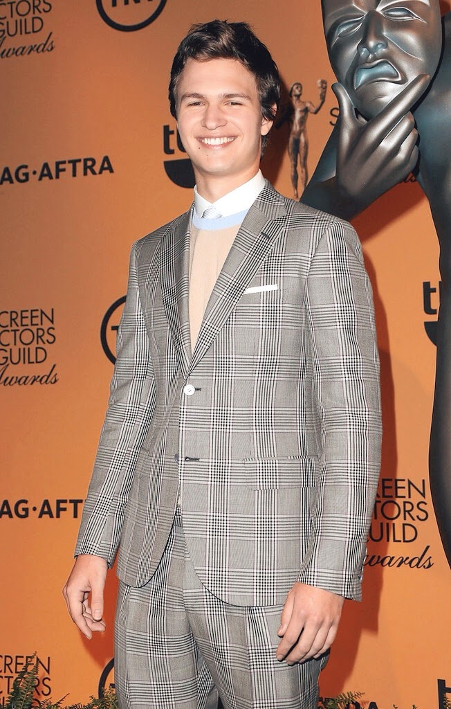 Ansel Elgort wears Brioni Spring Summer 2015 grey check suit to 21st Annual Screen Actors Guild Award Nominations 10th December 2014