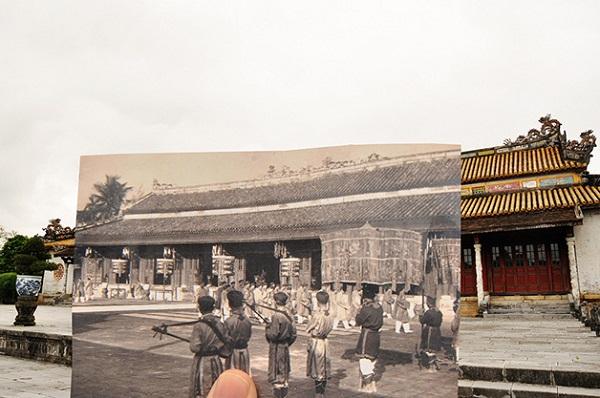passado e presente do Vietnã em sobreposição de fotos