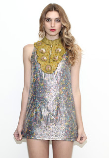 Vintage 1960's metallic silver and gold mod brocade mini dress.