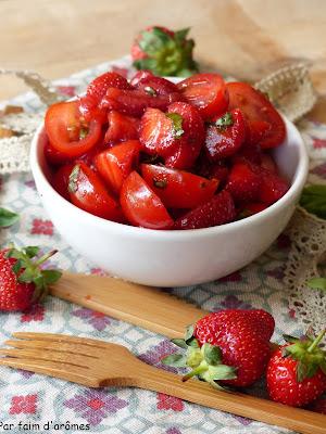 Salade tomate, fraise, basilic