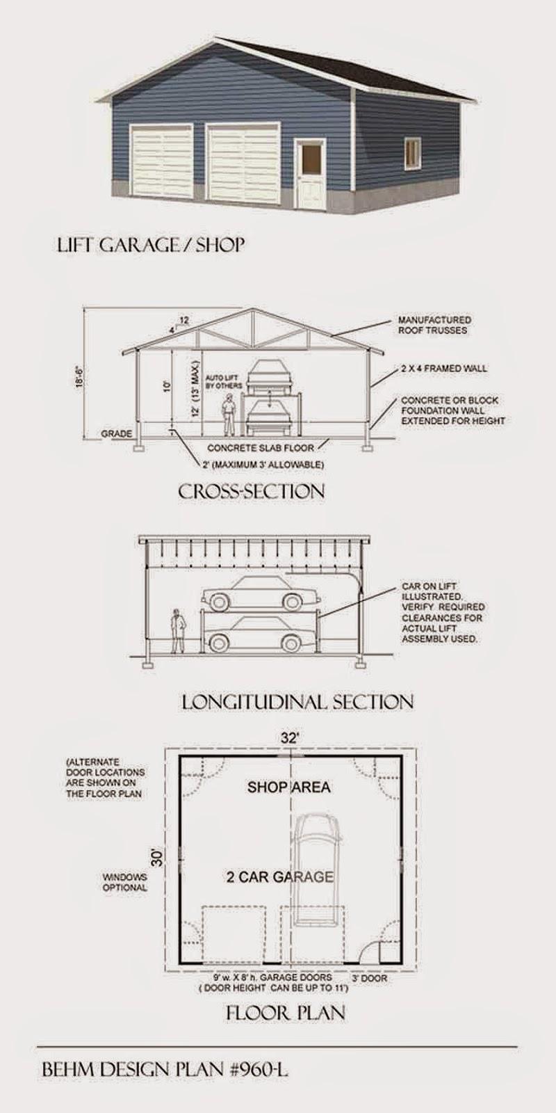 Garage plans blog behm design garage plan examples for Car lift plans