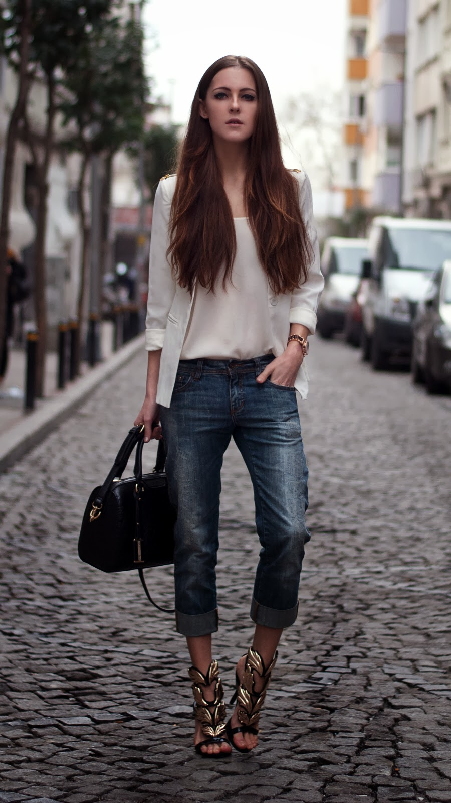 streetstyle, fashionblogger, blazer outfit, oasap heels, diesel jeans, fashion details, michael kors, lookbook, longhair, istanbul street style