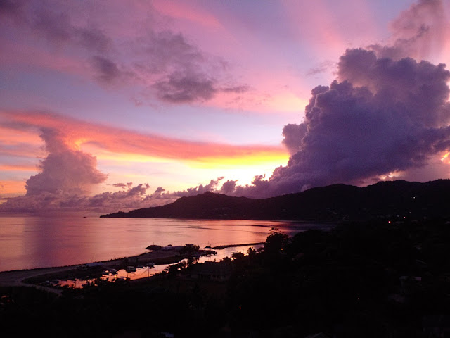 just after sunset from Bel Ombre over Beauvallon Bay, Mahe, Seychelles