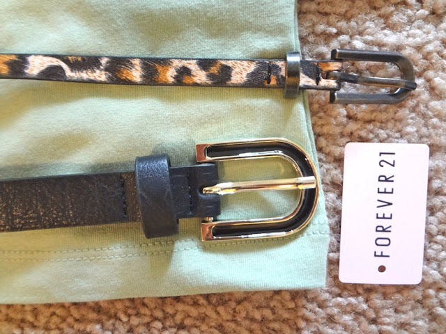 forever21 leopard belt and black belt