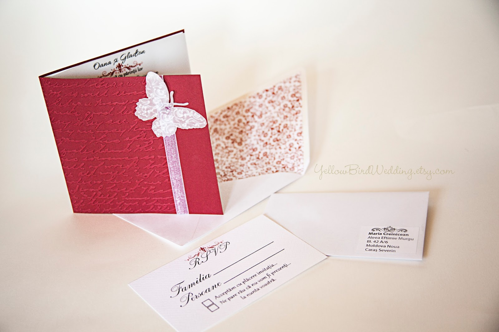Deep Red Burgundy And White Handmade Invitation Set Erfly